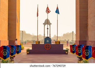Amar Jawan Jyoti, India Gate, Delhi -November 2017: It is an Indian memorial constructed after the Indo-Pakistani War of 1971 to commemorate soldiers of Indian Armed Forces who died invading Pakistan.