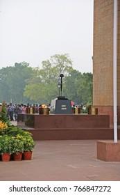 Amar Jawan Jyoti Memorial at India Gate, Rajpath, New Delhi, India on July 3, 2016