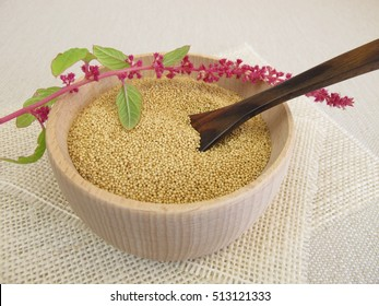 Amarant seeds in wooden bowl