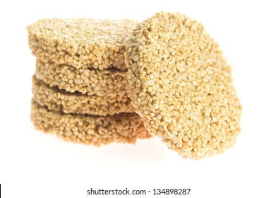 Amaranth cakes on a white background