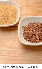 Amaranth and flaxseed in a ceramic bowl