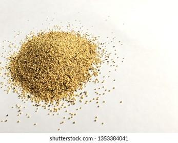 amaranth seeds on a white background. healthy vegan food. plant based nutrition. amaranth plant.