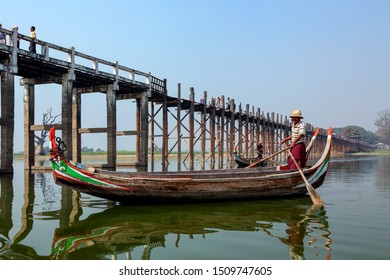 Amarapura. Myanmar. 01.29.13. U-Bein Bridge at Amarapura near Mandalay in Myanmar (Burma). The footbridge, over Taungthaman Lake, was constructed in 1849 by the then mayor of Amarapura, U Bein.