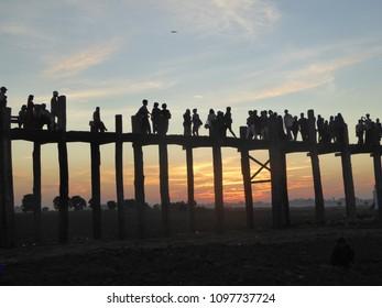 Amarapura/Myanmar- December 9, 2016 : U Bein bridge in Taung Taman lake, Myanmar.