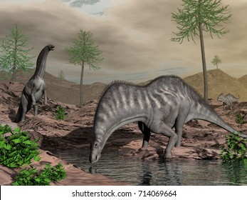 Amargasaurus dinosaur herd going to drink - 3D render