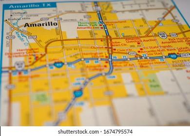 Amarillo on USA travel map