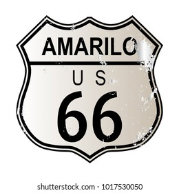 Amarillo Route 66 traffic sign over a white background and the legend ROUTE US 66