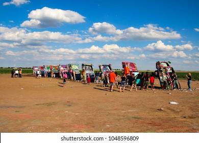 AMARILLO, TEXAS - JULY 4, 2016 - Cadillac Ranch is a public art installation and sculpture in Amarillo, Texas, USA.