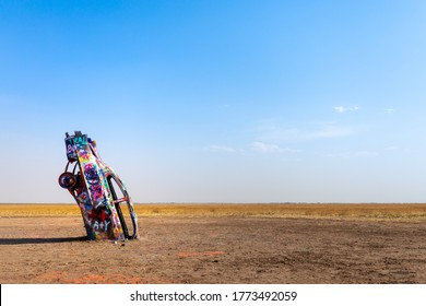 AMARILLO, TEXAS, USA - June 21, 2020 : Cadillac Ranch in Amarillo. Cadillac Ranch is a public art installation of old car wrecks and a popular landmark on historic Route 66