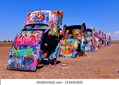 Amarillo TX, USA - 2018.05.25. - The Cadillac Ranch at Amarillo TX.