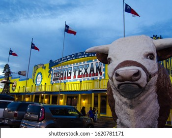 Amarillo, TX, USA - August 9 2017: Entry of the big texan restuarant famous for the big steak which is free if you can eat it in less than 1h