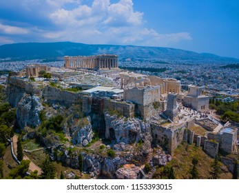 Amasing aerial view to The Parthenon Temple at the Acropolis of Athens, Greece. Drone photography