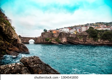 Amasra landscape with sea and stone bridge- Amasra is a small sea resort town in Bartin - Blacksea Region / Turkey