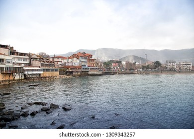 Amasra landscape with sea and town- Amasra is a small sea resort town in Bartin / Turkey