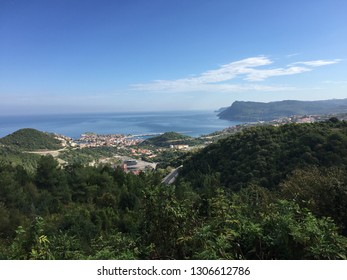 Amasra panoramic view including  green hills, town center, buildings, bay...(092015-Amasra, Turkey)
