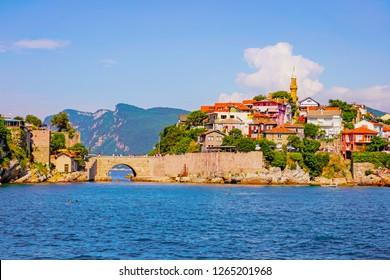Amasra/Turkey-July 22 2018: Beautiful Black Sea town with Kemere Bridge