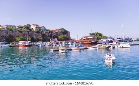 Amasra/Turkey-July 22 2018: Boats in Amasra beach