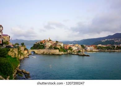 Amasra/Turkey-October 13, 2018: The beautiful city Amasra is attracting national and international tourists all the year with its sea, houses and bridge.