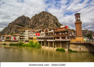 Amasya is a city in northern Turkey . Amasya it is located inside the Black Sea Region.City is known as Ottoman's prince city. Amasya landscape beautiful river with clouds Clock Tower and Old Ottoman