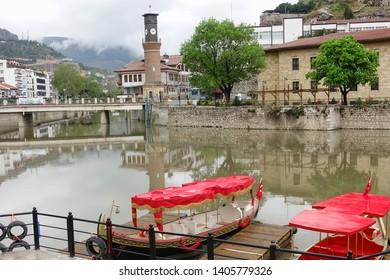 Amasya city view with pleasure boats  - Amasya, Turkey