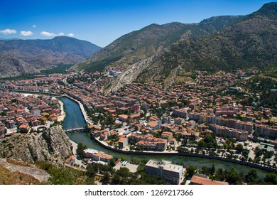 Amasya city view Turkey. Beautiful river landscape and city between mountains.