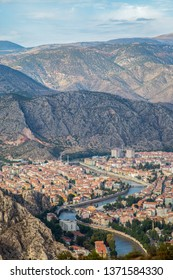 Amasya city views,Yesilirmak river and mountains.Amasya,Turkey