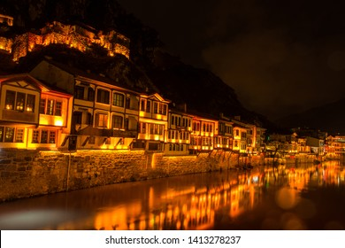Amasya cityscape at night - Amasya is a tourist destination city in Turkey with famous renovated Ottoman style historical houses and other artifacts.