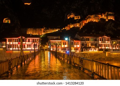 Amasya province, Amasya/Turkey - April 20 2019: Amasya cityscape at night - Amasya is a tourist destination city in Turkey with famous renovated Ottoman style historical houses and other artifacts.