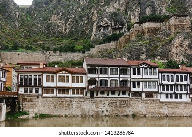 Amasya province, Amasya/Turkey - April 21 2019: Amasya is a tourist destination city in Turkey with famous renovated Ottoman style historical houses and other artifacts.