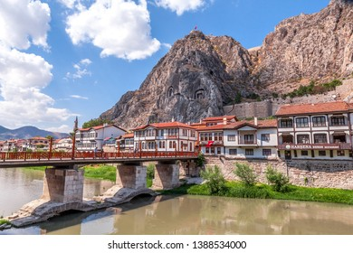 Amasya / Turkey - 09.03.2013: Amasya Houses and tombs of the kings, next to the Yesilirmak River