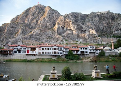 Amasya / Turkey - 09/28/2015: View of the historical Amasya Houses and stone tombs of the kings in Turkey .