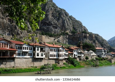 Amasya / Turkey - August 2, 2012: Traditional Amasya houses located by the river.