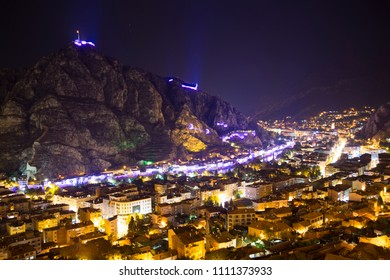 Amasya, Turkey - August, 2017: Old Ottoman houses night view by the Yesilirmak River in Amasya. Amasya is a city in northern Turkey and is the capital of Amasya Province, in the Black Sea Region.