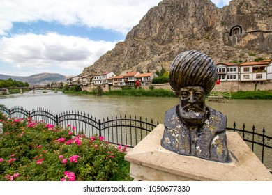 Amasya, Turkey - August 30, 2017 : Old Ottoman city  (turkish mean is; Sehzadeler Sehri) houses panoramic view by the Yesilirmak River in Amasya City. Amasya is populer tourist destination in Turkey.