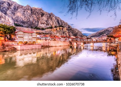 Amasya, Turkey - February 11, 2017 : Old Ottoman houses panoramic view by the Yesilirmak River in Amasya City. Amasya is populer tourist destination in Turkey.