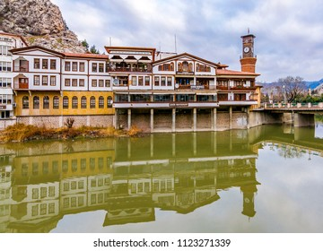 Amasya, Turkey - February 11, 2017 : Old Ottoman houses view by the Yesilirmak River in Amasya City. Amasya is popular tourist destination in Turkey.