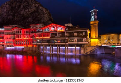 Amasya, Turkey - February 11, 2017 : Old Ottoman houses night panoramic view by the Yesilirmak River in Amasya City. Amasya is populer tourist destination in Turkey.