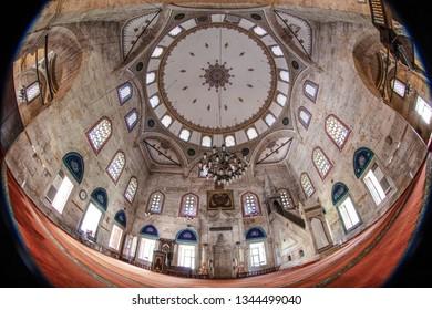Amasya, Turkey - July 20, 2015; Sultan II. Bayezid Mosque mosque interior detail, Amasya, Turkey.