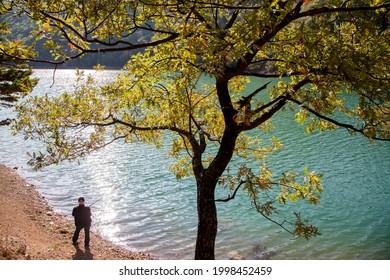 Amasya,Turkey - 10-03-2015:A man fishing with Borabay lake