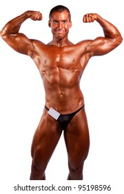 amateur bodybuilder posing over white background