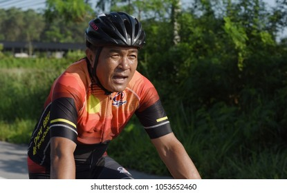 Amateur cyclist They compete in a charity program for children with visual disabilities. From Chonburi to Chanthaburi,thailand. the route is 129 km on March 17, 2018.