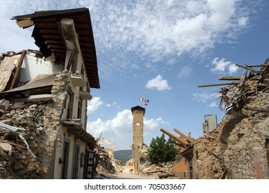 Amatrice - Italy - August 28, 2017 - The center of the country o