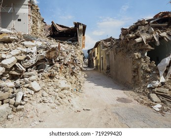 Amatrice - Italy - August 28, 2017 - The center of the country one year after the earthquake