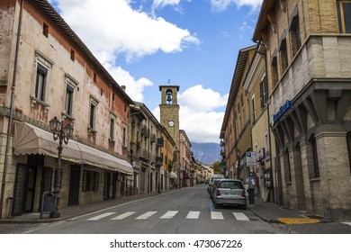AMATRICE, ITALY - OCTOBER 17, 2015: Amatrice, a town in the province of Rieti in Italy. City destroyed by an earthquake in August 24, 2016