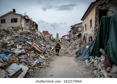 AMATRICE, ITALY - OCTOBER 2016: The earthquake in Amatrice in the center of Italy