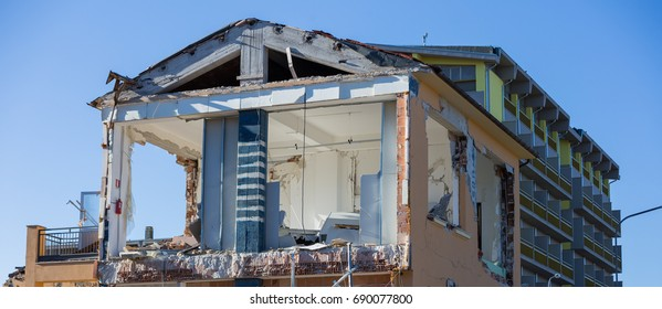 Amatrice, Lazio, Italy 24 August 2016. Earthquake center of italy with magnitude 6.5 scale of richter scale. Its destructive force.