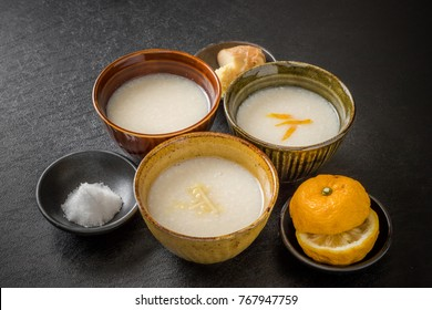 (amazake)sweet alcoholic drink made from fermented rice traditional drink of Japan