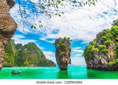 Amazed beautiful nature scenic landscape James bond island Phang-nga bay, Attraction famous landmark place tourist travel Phuket Thailand outdoor summer holiday vacation trip, Tourism destination Asia