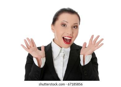 Amazed business woman isolated on white background
