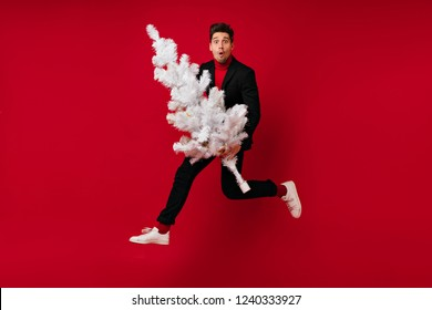 Amazed carefree guy jumping during new year photoshoot on red background. Positive well-dressed man holding white christmas tree.